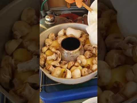 One Pot: Überbackene Kartoffeln in cremiger Champignonsoße aus dem Omnia Backofen